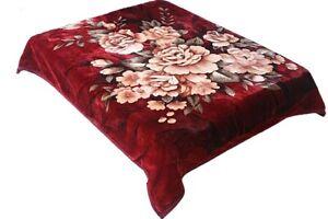 Heavy Korean Blanket Mink 10 Lbs Queen & King Size Thick Warm Plush Soft Maroon