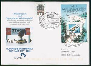 MayfairStamps Germany 2002 Souvenir Sheet Bobsledding Koln Cover wwp80341