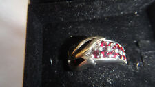 BEAUTIFUL PANDORA SILVER & 14ct SOLID GOLD LOVE RUBY RING SIZE N
