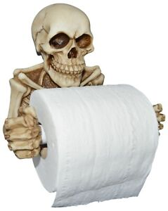 Skeleton Toilet Paper Holder with Wall Mounting Screw, Spooky Halloween Skull
