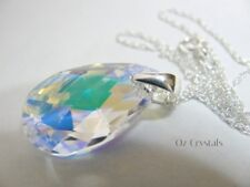 Ab Teardrop Pear & Sterling Silver Necklace made with 22mm Swarovski Crystal