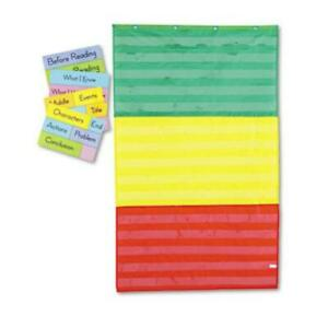 Carson-Dellosa 5642 Adjustable Tri-section Pocket Chart With 18 Color Cards,