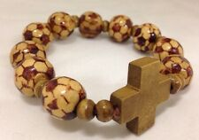 Brown Soccer/ Football Balls Wooden Religious Bracelet With Cross - World Cup