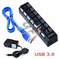 USB 3.0 Hub On/Off Switches + AC Power Adapter Cable for PC Laptop