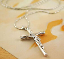 """NEW MENS/LADIES SILVER CROSS NECKLESS WITH 8"""" CHAIN GREAT GIFT"""