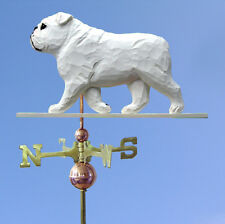 English Bulldog Hand Carved Hand Painted Basswood Dog Weathervane White