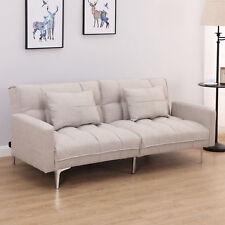 Schlafsofa Schlafcouch 3-Sitzer Sofabett Klappsofa mit Kissen Leinen Grau