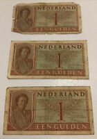 Lot Of 3 X Netherlands Banknotes. 1 Gulden. Dated 1949. P72.