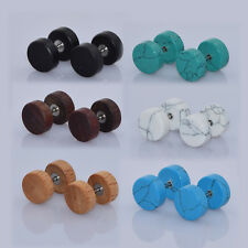 6Pair Fake Ear Tunnels Plugs Expander Wood Stone Cheater Ear Stretcher Gauge 16G