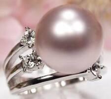 LUXUS 14mm Lavendel Muschelkern Perlen Ring Weissgold plattiert (R7)