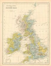 c1900 VICTORIAN MAP ~ PHYSICAL MAP OF THE BRITISH ISLES ~ MEAN ANNUAL RAINFALL