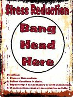 STRESS REDUCTION BANG HEAD HERE METAL SIGN RETRO VINTAGE STYLE SMALL