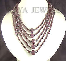 877cts DESIGNER NATURAL RUBY BEADS 5 STRAND NECKLACE !
