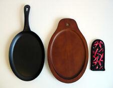 Cast Iron Fajita Grill with Wood Platter and Sleeve Set Fajitas Plate New NIB
