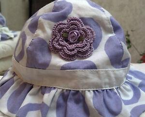 NEW LAVENDER HAT SUNHAT w/ HANDMADE ROSE 3 6 MONTHS GIRLs BABY INFANT NEWBORN