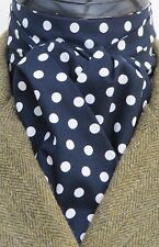 Ready Tied Navy Blue & White Polka Dot Cotton Riding Stock-Hunting Dressage Show
