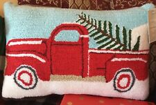 Hudson'S Bay Company Gluckstein Home Christmas Truck Hooked Pillow *New*