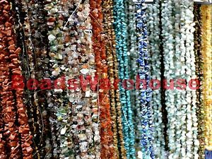 """Treated Gemstone Crystal Tumble Chips Beads 34-36"""" Long Strand 5-10mm"""