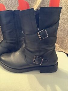 Evans Black Leather Biker Style Boots Size 6EEE Wide Fit