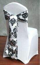 50 Pack Black White Damask Taffeta Chair Sashes Bows Wedding Flocking Flocked