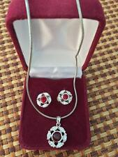 RUBY NECKLACE AND EARRING SET ~ FASHION JEWELRY IN BOX ~ NEW
