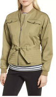 Nordstrom Signature Women's Belted Utility Bomber Jacket Size Small Green 155590