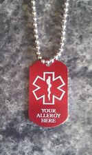 "ALLERGY Emergency Response Alert ID Dog Tags MEDICAL ALLERGY 24"" CHAIN"