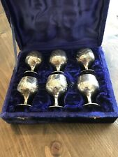 6 Boxed Silver Plate Goblets / Eggcups