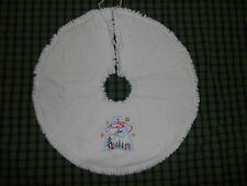 """SNOWMAN & ANGEL, Saltbox, Stars Embroidered Tree Skirt,18"""",Christmas,Country"""