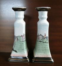 Pair Chinese Porcelain Candle Holders Hand Painted Square Base Equestrian Horses