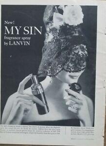 1959 Lanvin my sin spray perfume bottle woman lace mask vintage ad