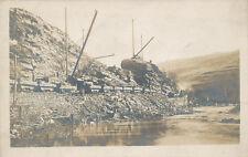 Railroad * Cutting Away Hillside for RR  ca. 1908 * RPPC  Cranes and Train