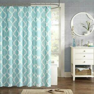 "Madison Park Merritt Essentials MPE70-082 Shower Curtain, 72x72, Aqua 72x72"" NEW"