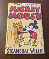 Vintage Walt Disney Mickey Mouse Magnet Steamboat Willie Movie Poster Captain