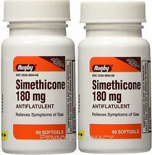 Rugby Simethicone Gas Relief 180mg 60 Softgels (2 pack)= 120  PHARMACY FRESH!