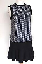 Victoria Beckham Daisy Jacquard Crepe Dress Dropped Waist uk 12