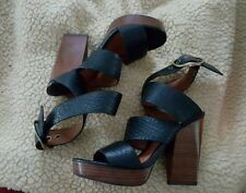 Lucky Brand Women US 6 1/2 Black Pebble Leather Ankle Wrap Wood High Heel New