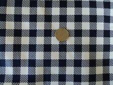 57 wide 97% cotton 3% spandex twill fabric Bty Navy blue- white check sportswear