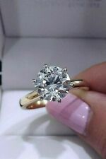 3Carat 6 Prong Solitaire Moissanite 2 Tone Engagement Ring Solid 14k Yellow Gold