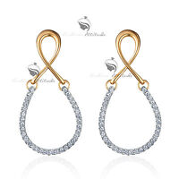 18k yellow white gold gf made with swarovski crystal infinity drop stud earrings