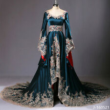 2017 Medieval Dark Blue Bridal Gown Appliques Beaded Wedding Dresses Custom Made