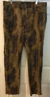 Lauren Ralph Lauren Womens sz 12 Zip Ankle Snake   Print Stretch Pants 35x 29