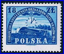 POLAND 1948 EUROPA RAILROAD TIMETABLE CONFERENCE SC#435 MNH TRAINS, CLOCKS
