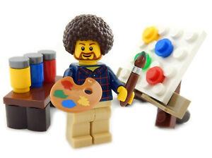 """NEW LEGO """"PUBLIC T.V. HIPPIE ARTIST"""" MINIFIG figure minifigure paint painter"""