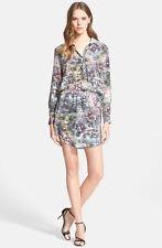 Haute Hippie Print Drawstring Waist Silk Shirtdress (size S)