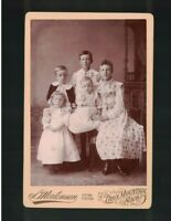 C 1895 Group of Five Iron Mountain MI Siblings Formal Studio Pose Cabinet Card