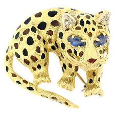 VINTAGE CON TEXTURA 18ct Zafiro Oro Amarillo leopardo Broche Naranja Negro