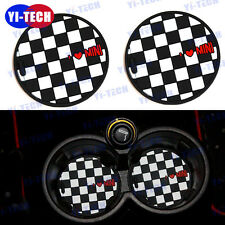 2pcs Mini Cooper Cup Holder Cup Non-slip Mat Checker with Heart UK Flag 73mm