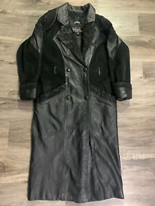 Wilsons Black Leather Long Jacket Trenchcoat Parka Womens Size Petite Small Vtg