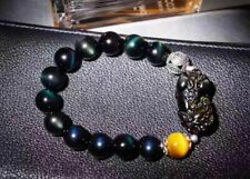 Natural Obsidian Double Rainbow Eye Agate Stretch Bracelet Chinese Dragon Pixiu